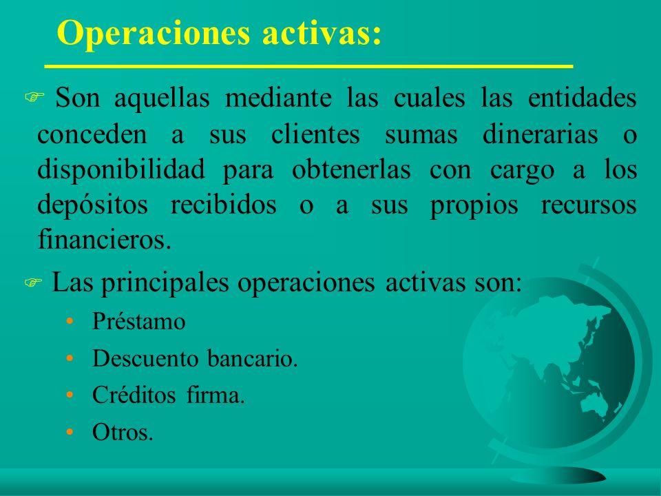 Operaciones activas: