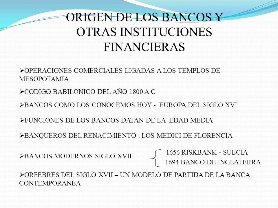 ORIGEN DE LOS BANCOS Y OTRAS INSTITUCIONES FINANCIERAS