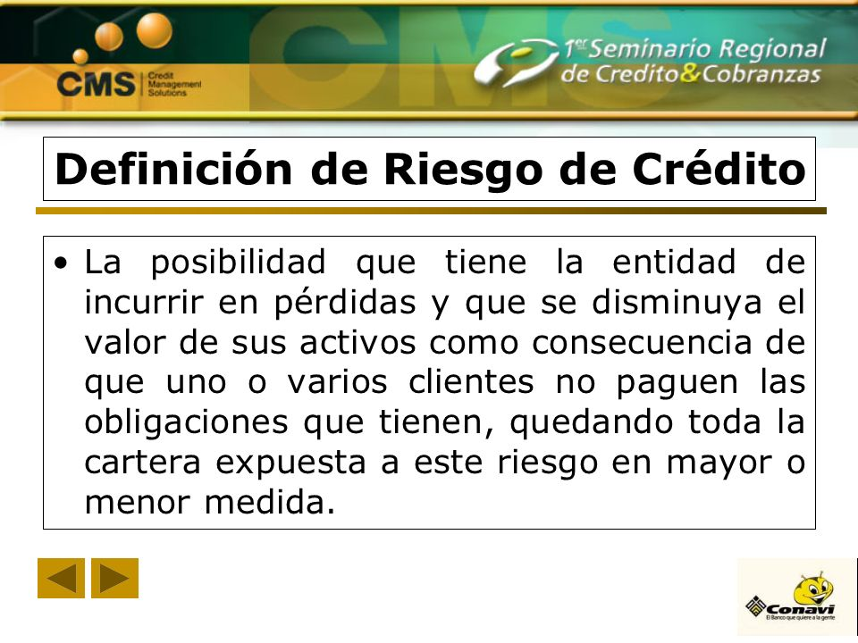 Definición de Riesgo de Crédito