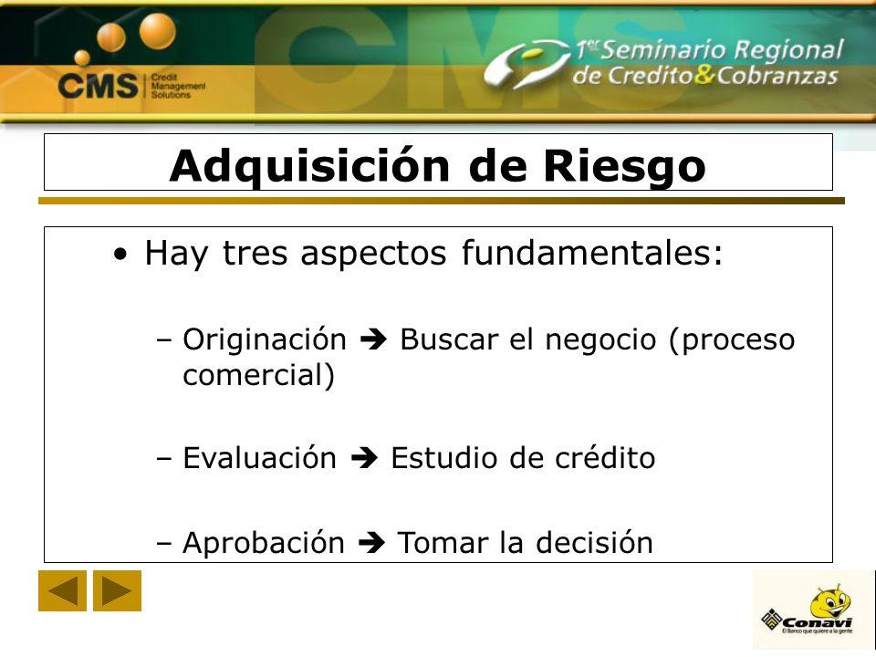 Adquisición de Riesgo Hay tres aspectos fundamentales: