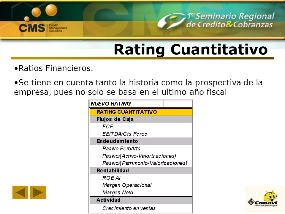 Rating Cuantitativo Ratios Financieros.