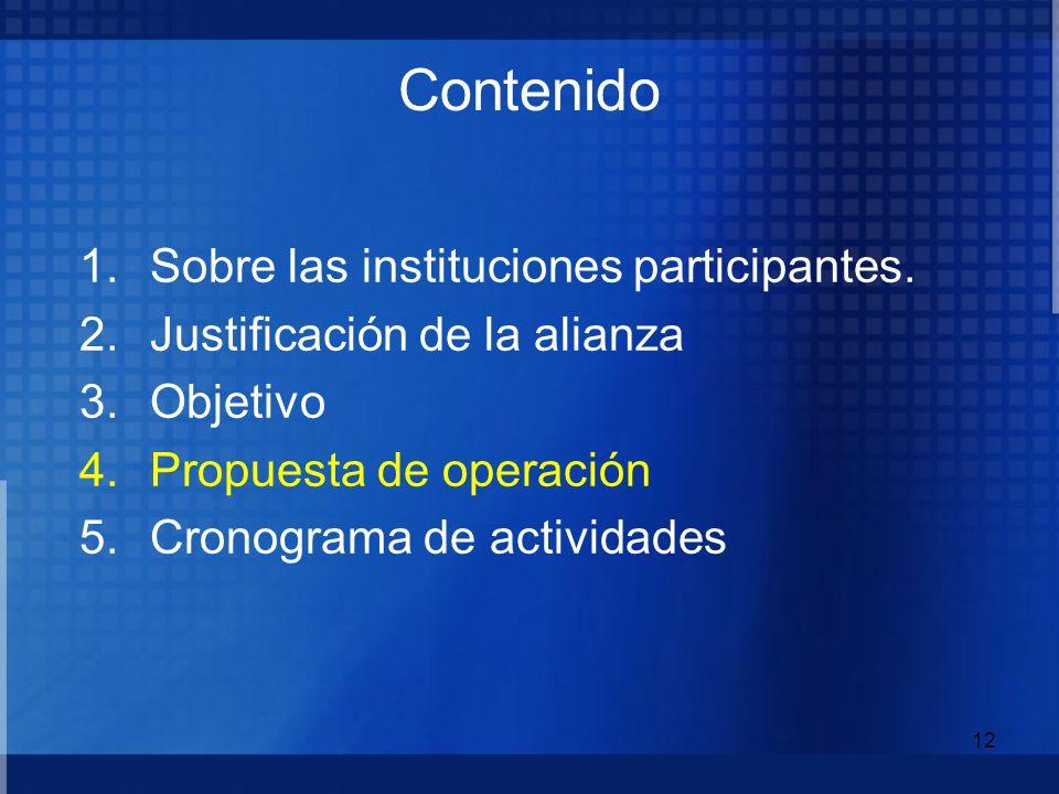 Contenido Sobre las instituciones participantes.