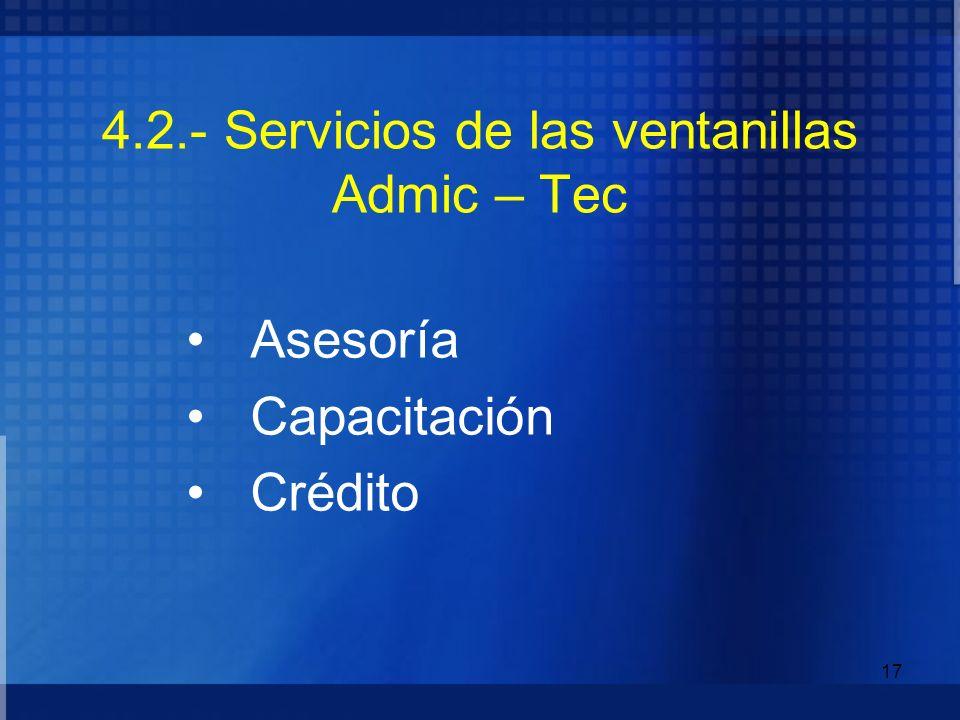 4.2.- Servicios de las ventanillas Admic – Tec