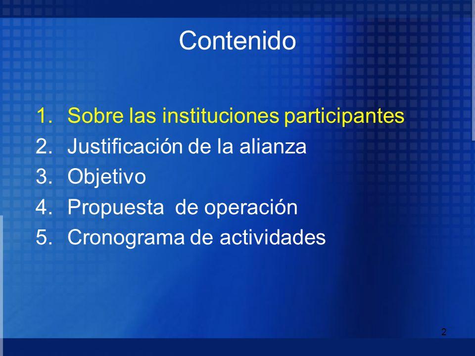 Contenido Sobre las instituciones participantes