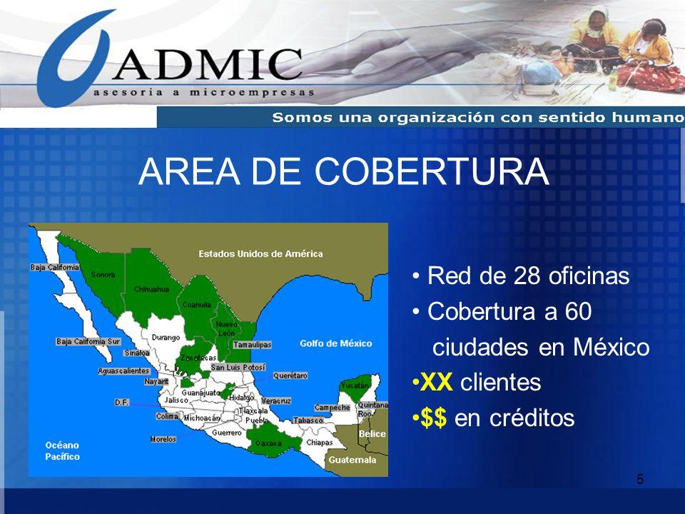 AREA DE COBERTURA Red de 28 oficinas Cobertura a 60 ciudades en México