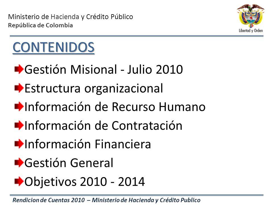 CONTENIDOS Gestión Misional - Julio 2010 Estructura organizacional