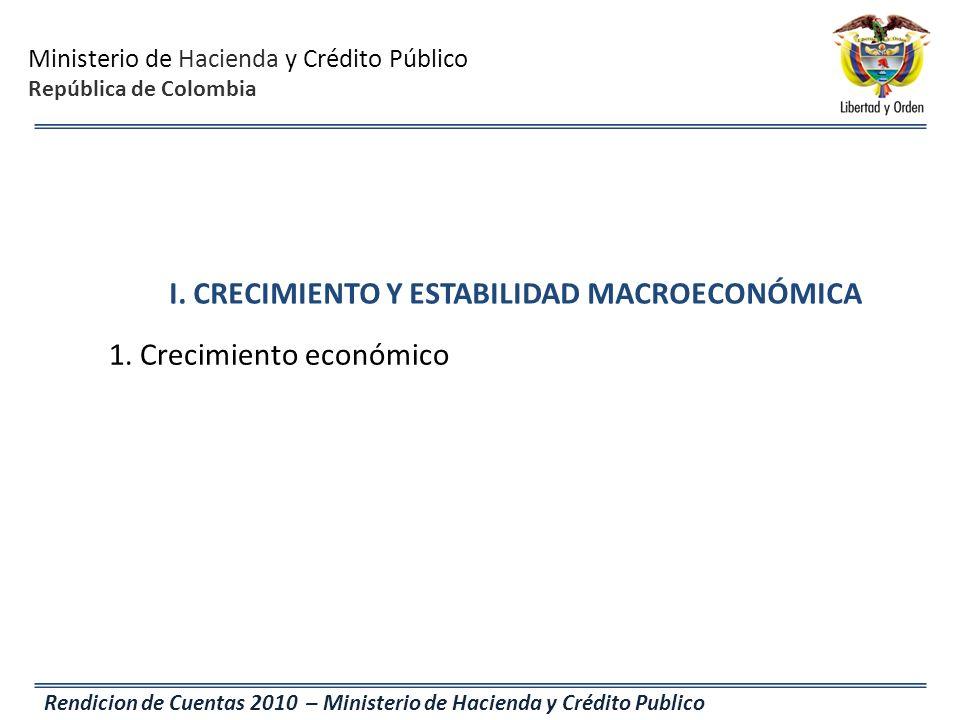 I. CRECIMIENTO Y ESTABILIDAD MACROECONÓMICA