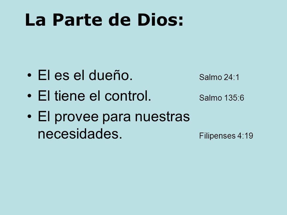 La Parte de Dios: El es el dueño. Salmo 24:1