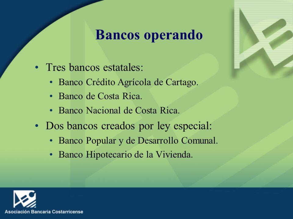 Bancos operando Tres bancos estatales: