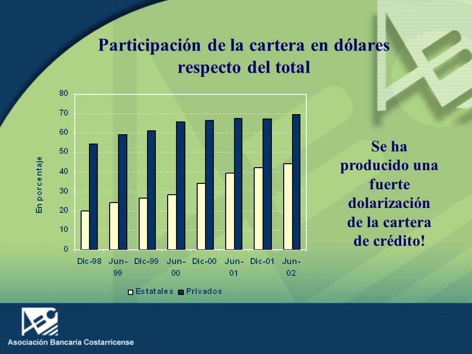 Participación de la cartera en dólares respecto del total