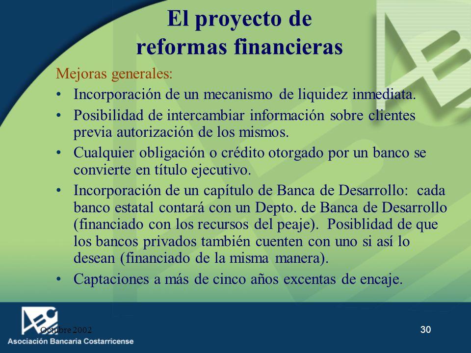 El proyecto de reformas financieras