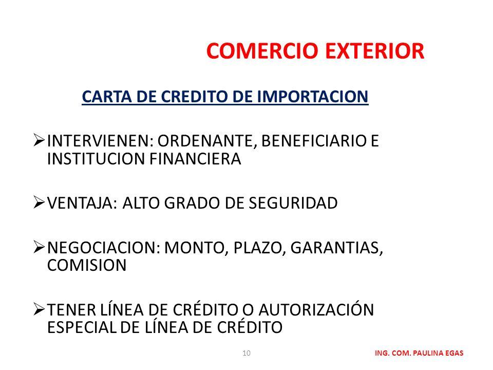 CARTA DE CREDITO DE IMPORTACION