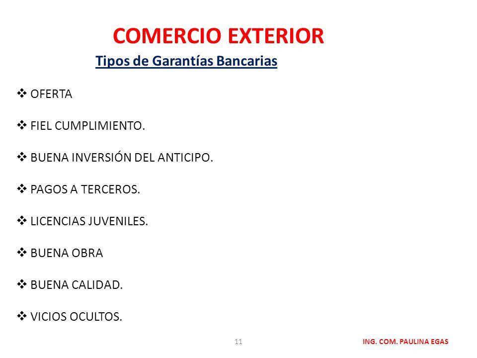 Tipos de Garantías Bancarias