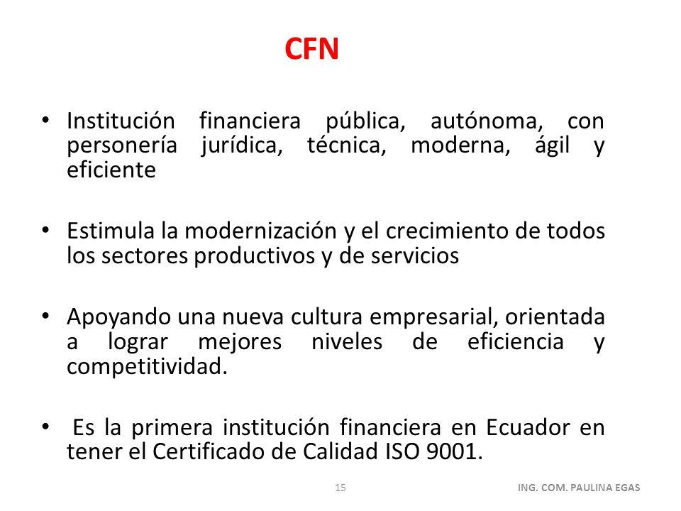 CFN Institución financiera pública, autónoma, con personería jurídica, técnica, moderna, ágil y eficiente.