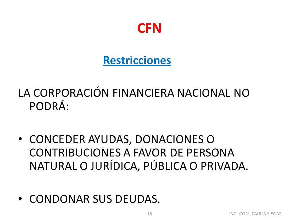 CFN Restricciones La Corporación Financiera Nacional no podrá: