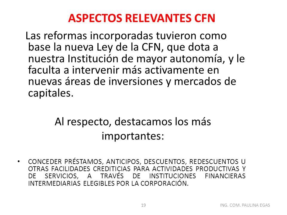 ASPECTOS RELEVANTES CFN