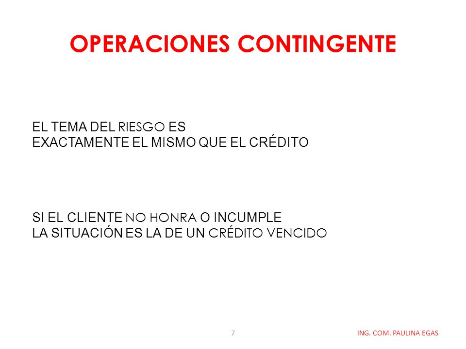 OPERACIONES CONTINGENTE