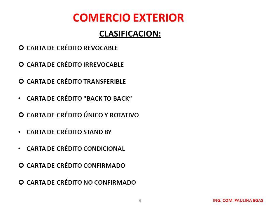 COMERCIO EXTERIOR CLASIFICACION: Carta de crédito revocable