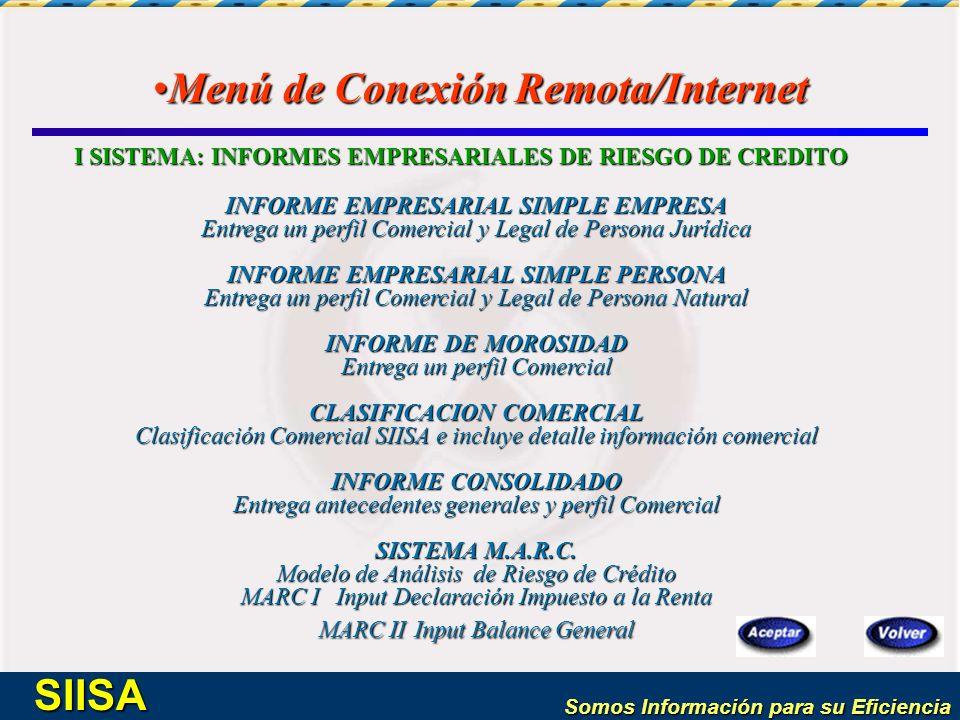 Menú de Conexión Remota/Internet
