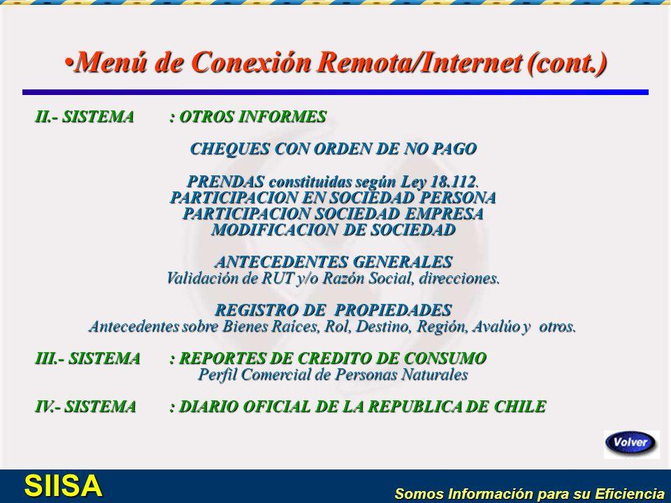 Menú de Conexión Remota/Internet (cont.)