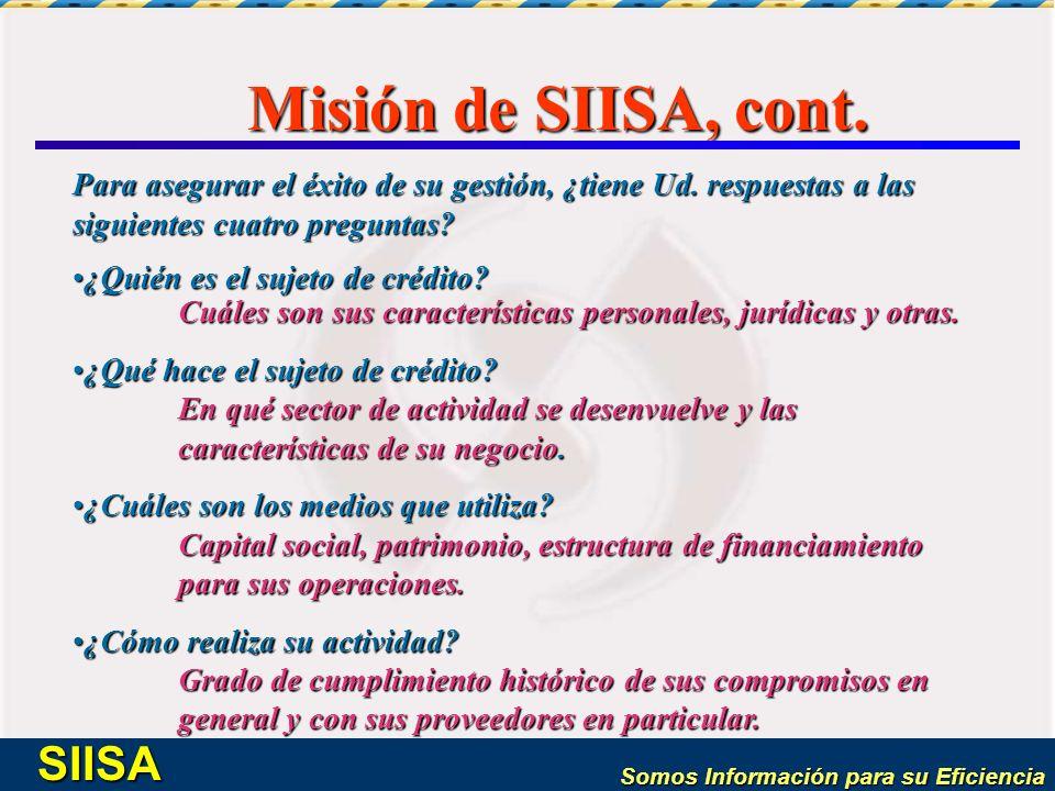 Misión de SIISA, cont. Para asegurar el éxito de su gestión, ¿tiene Ud. respuestas a las siguientes cuatro preguntas