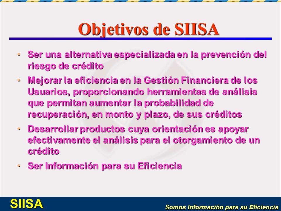 Objetivos de SIISA Ser una alternativa especializada en la prevención del riesgo de crédito.