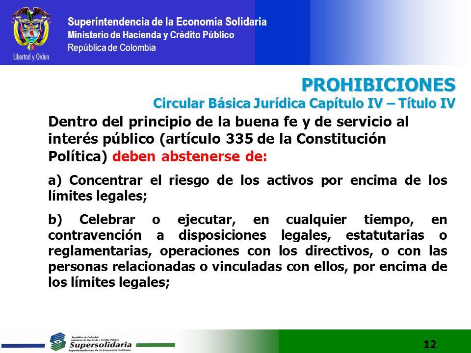 PROHIBICIONES Circular Básica Jurídica Capítulo IV – Título IV.