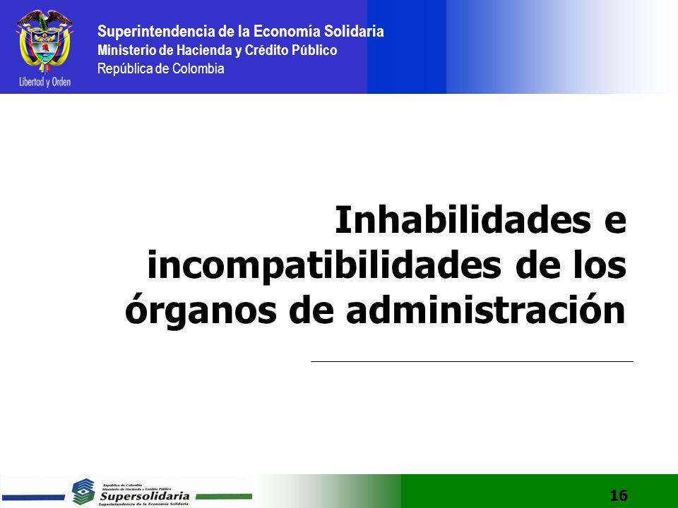 Inhabilidades e incompatibilidades de los órganos de administración