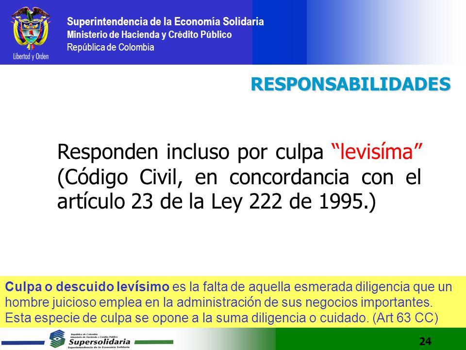 RESPONSABILIDADES Responden incluso por culpa levisíma (Código Civil, en concordancia con el artículo 23 de la Ley 222 de 1995.)