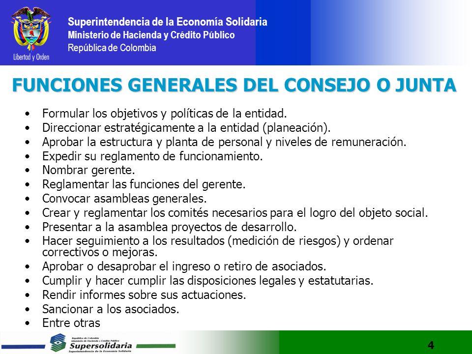 FUNCIONES GENERALES DEL CONSEJO O JUNTA
