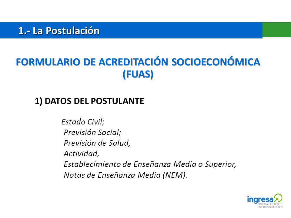 FORMULARIO DE ACREDITACIÓN SOCIOECONÓMICA (FUAS)