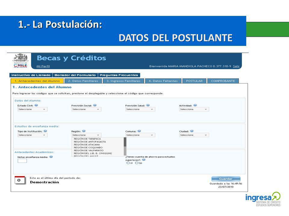 1.- La Postulación: DATOS DEL POSTULANTE