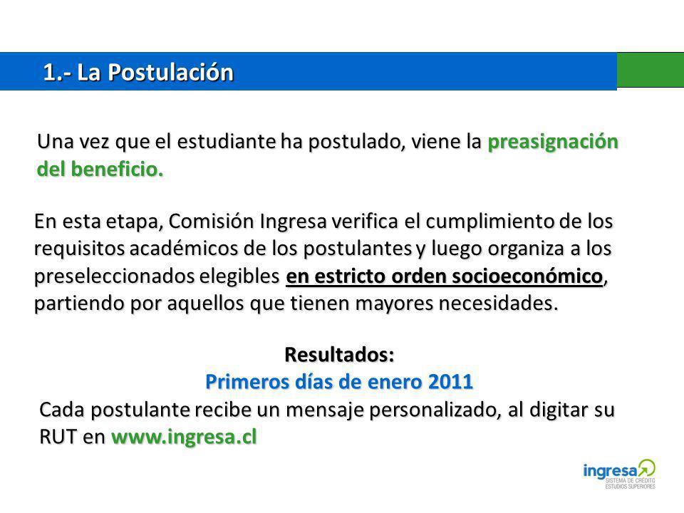 1.- La Postulación Una vez que el estudiante ha postulado, viene la preasignación del beneficio.