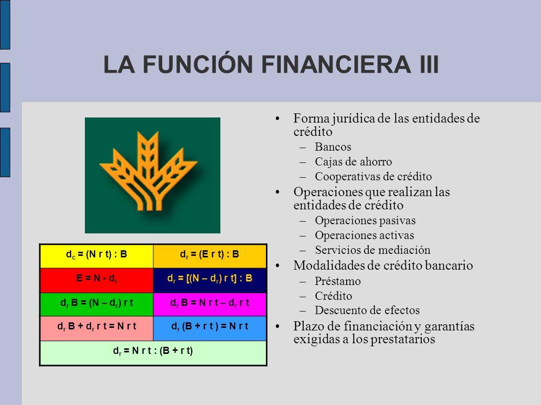 LA FUNCIÓN FINANCIERA III