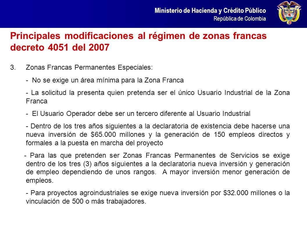 Principales modificaciones al régimen de zonas francas decreto 4051 del 2007
