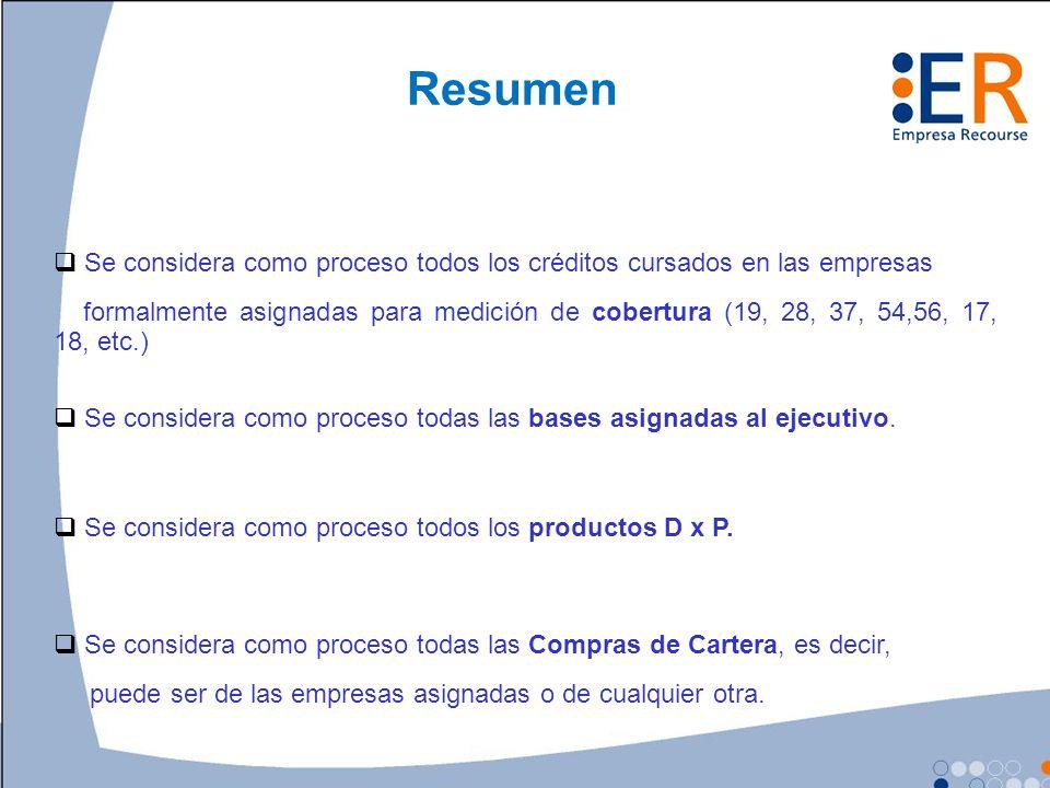 4 Resumen. Se considera como proceso todos los créditos cursados en las empresas.