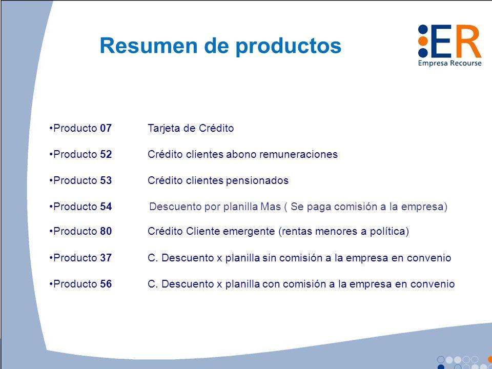 Resumen de productos Producto 07 Tarjeta de Crédito