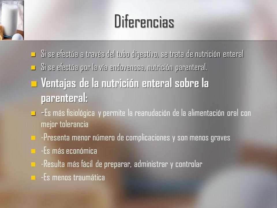 Diferencias Ventajas de la nutrición enteral sobre la parenteral: