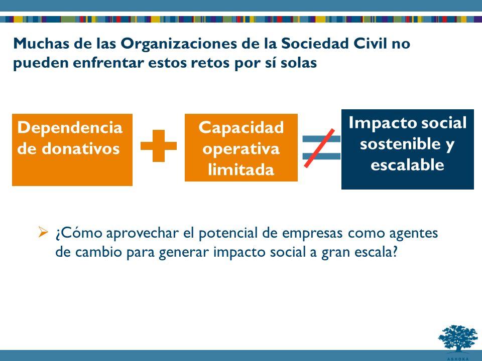 Impacto social sostenible y escalable Capacidad operativa limitada