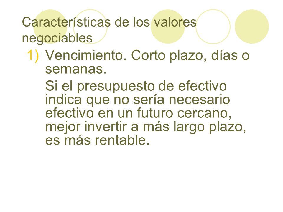 Características de los valores negociables