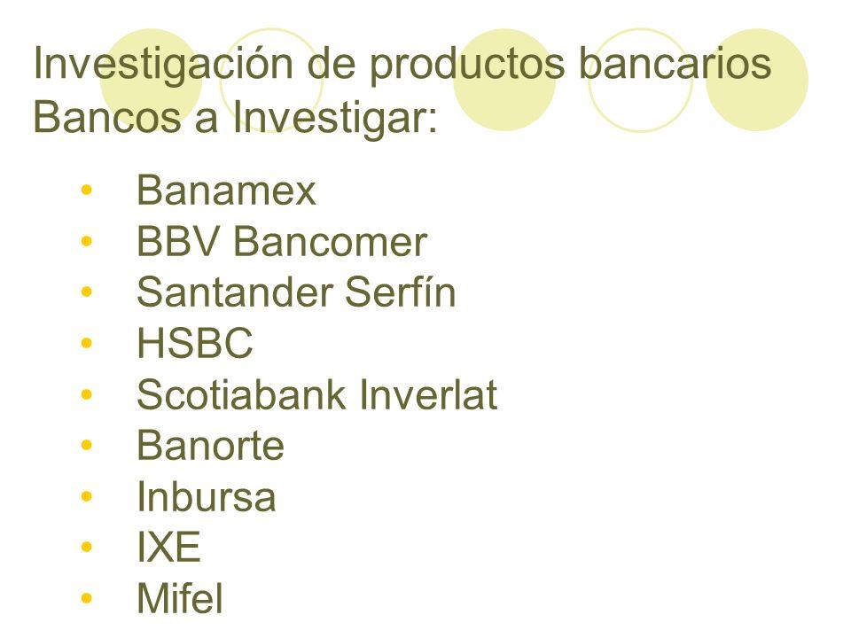 Investigación de productos bancarios Bancos a Investigar: