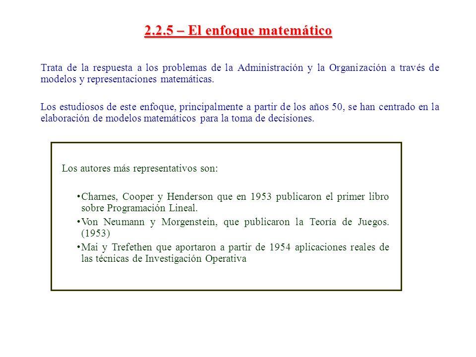2.2.5 – El enfoque matemático