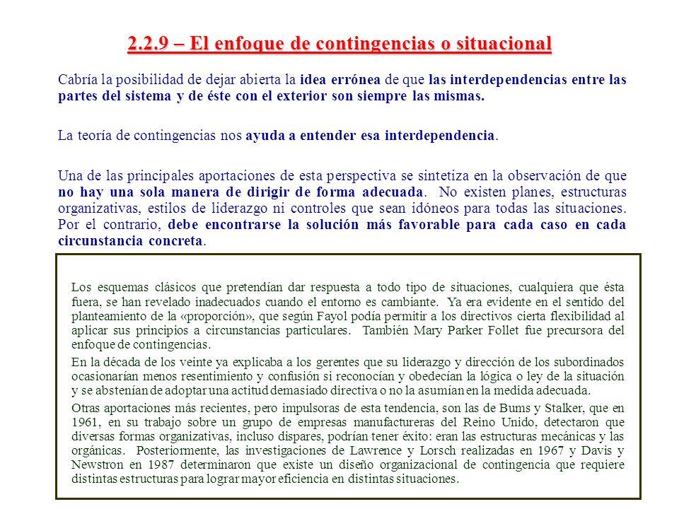 2.2.9 – El enfoque de contingencias o situacional