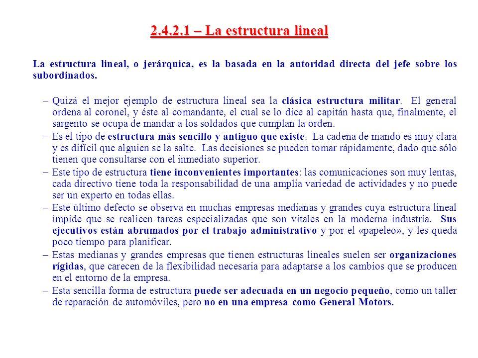 2.4.2.1 – La estructura lineal La estructura lineal, o jerárquica, es la basada en la autoridad directa del jefe sobre los subordinados.