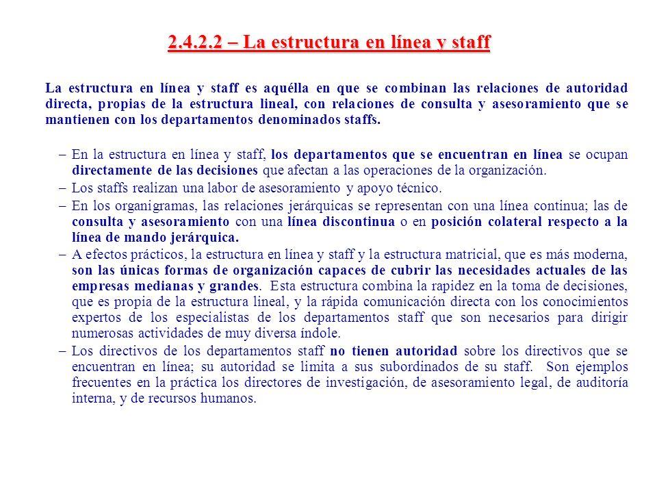 2.4.2.2 – La estructura en línea y staff