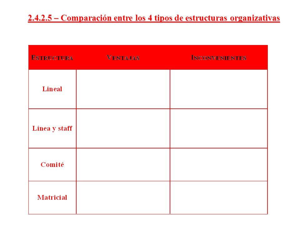2.4.2.5 – Comparación entre los 4 tipos de estructuras organizativas