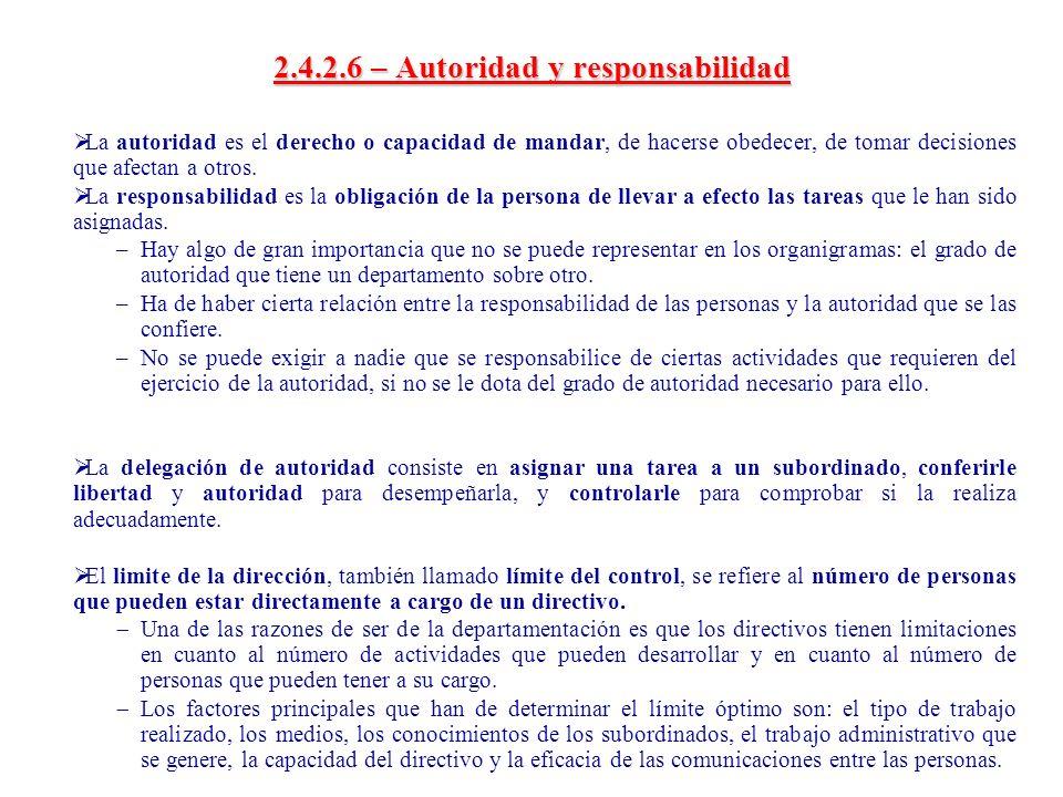 2.4.2.6 – Autoridad y responsabilidad