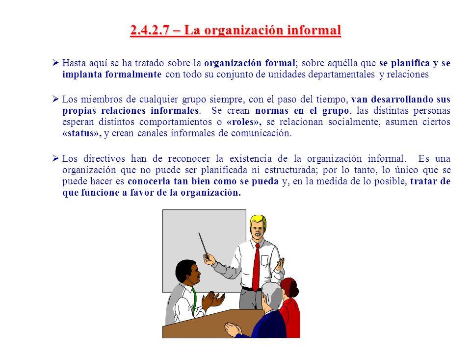 2.4.2.7 – La organización informal