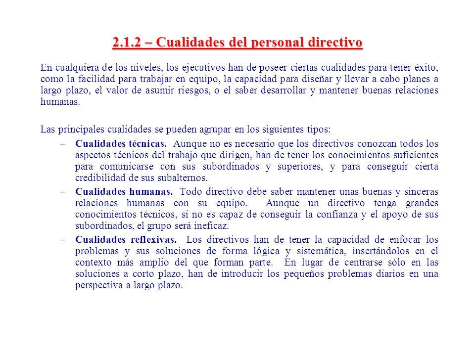 2.1.2 – Cualidades del personal directivo