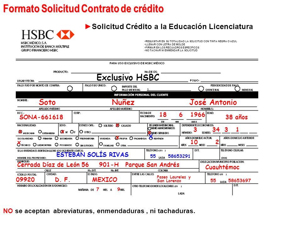 Formato Solicitud Contrato de crédito